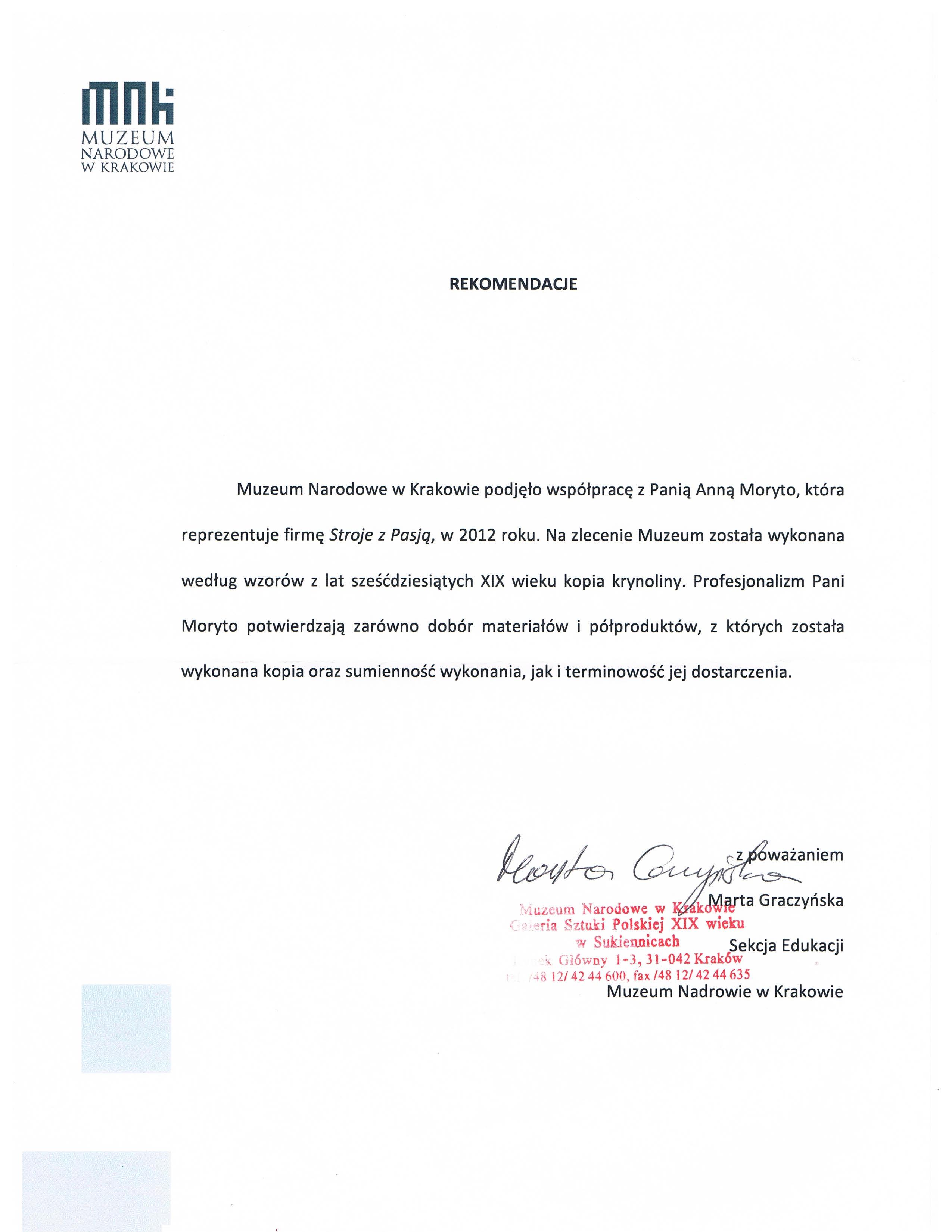Referencje z Muzeum Narodowego w Krakowie